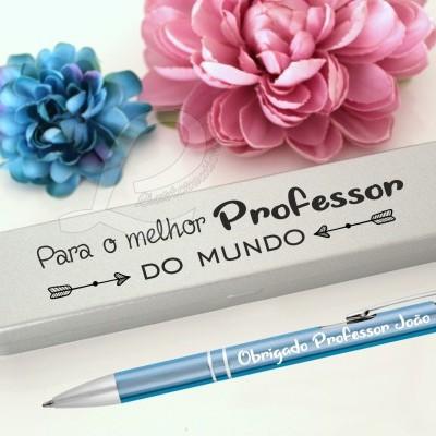 """Conjunto Estojo + Caneta """"Para o melhor Professor do mundo"""""""