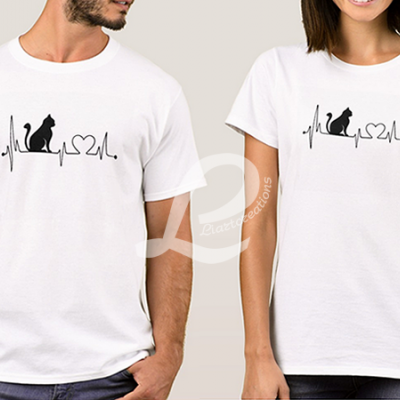 T-shirt Batimentos Cardiacos Gato