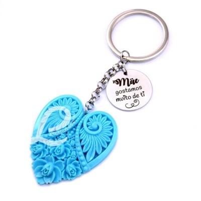 """Porta-Chaves Coração Azul+ Medalha Personalizada """" Mãe gostamos muito de ti """""""