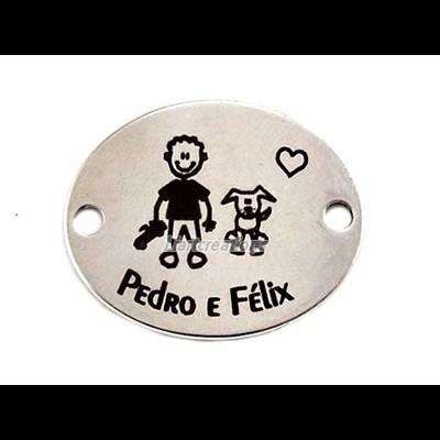 Conector Aço Inox Gravação Menino + Cão + Nomes