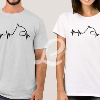 T-shirt Batimentos Cardiacos Bull Terrier