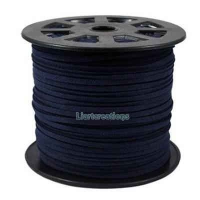 Fio de camurça 3mm Azul Escuro