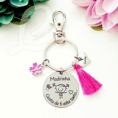 Porta-chaves Madrinha gosto de ti este tanto...