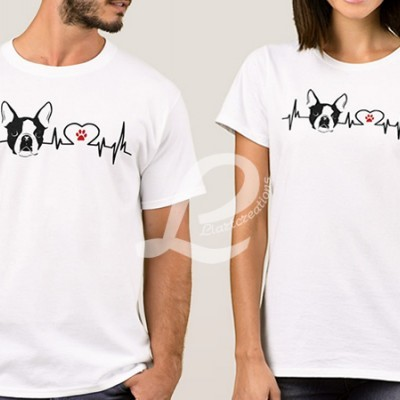 T-shirt Batimentos Cardiacos Boston Terrier