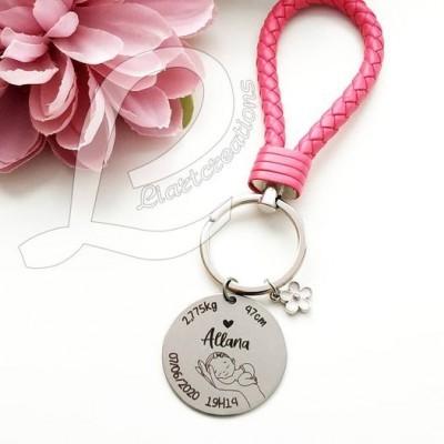 Porta-chaves personalizado com dados de nascimento