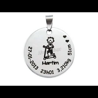 Medalha Aço Dados de Nascimento