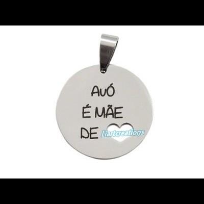 """Medalha em Aço Inoxidável """" Avó é Mãe de coração"""""""