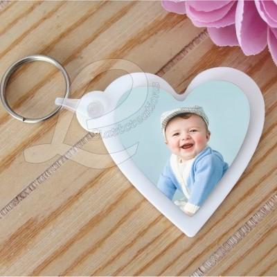 Porta-Chaves Coração Acrílico com Impressão de Fotografia
