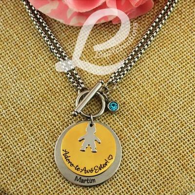 Colar Corrente c/ Medalha Dupla Personalizada Adoro-te Avó