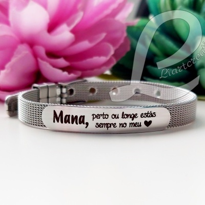 """Pulseira bracelete """"Mana, perto ou longe estás sempre no meu 🖤"""""""