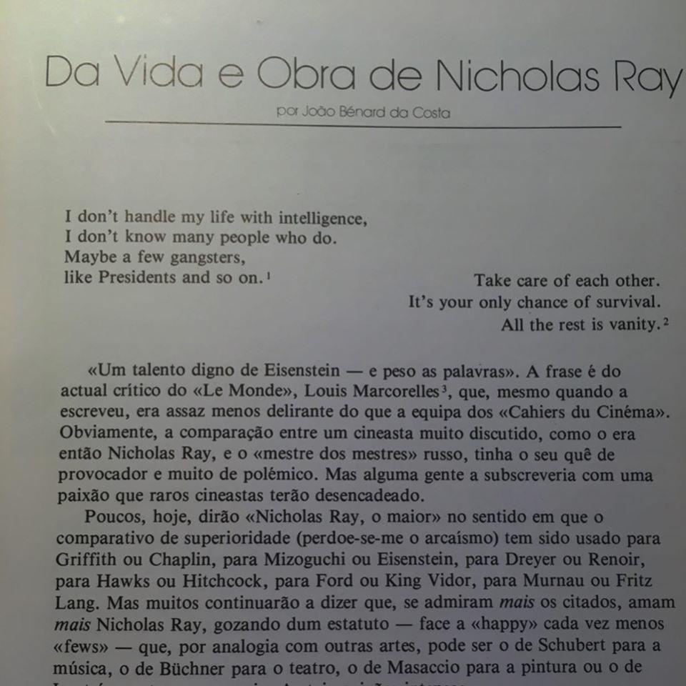 CICLO NICHOLAS RAY • JOÃO BÉNARD DA COSTA (ORG.)