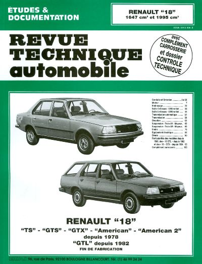 Renault 18 1647cc 1995cc 1978-86 (RTA382)