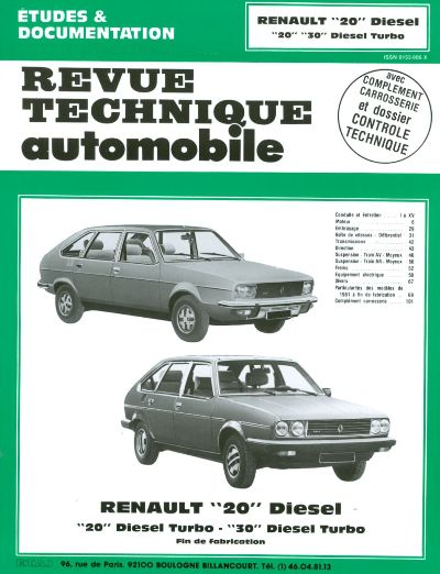 Renault 20 D et TD 1980-84 (RTA409)