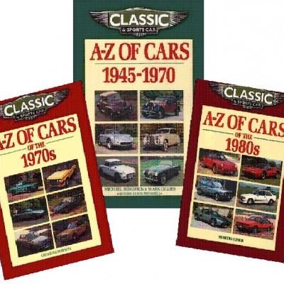 3 Livros A-Z of Cars (1945-1970's; 1970's e 1980's)