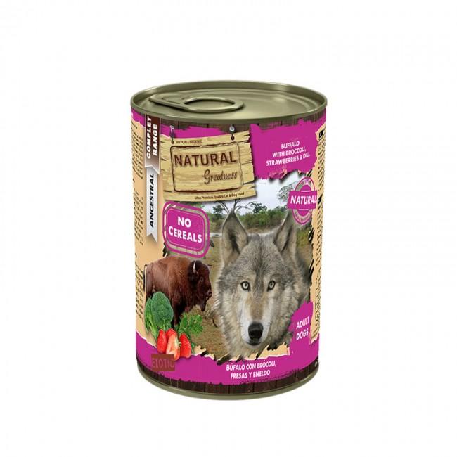 Natural Greatness Wet Dog Búfalo com brócolos, morangos e endro