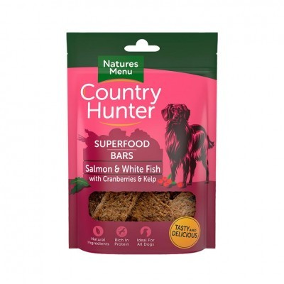 COUNTRY HUNTER SUPERFOOD BARS | SALMÃO E PEIXE BRANCO COM ARANDOS E ALGA-MARINHA 100 g