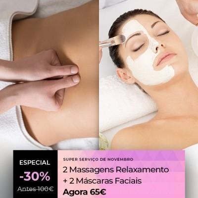 Pacote 2 Massagens + 2 Máscaras Hidratantes