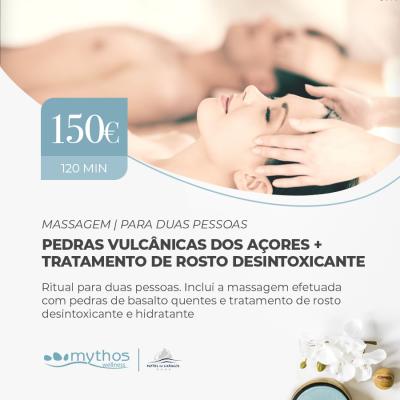 Massagem Vulcânica dos Açores + Trat. de Rosto Desintoxicante para Duas Pessoas