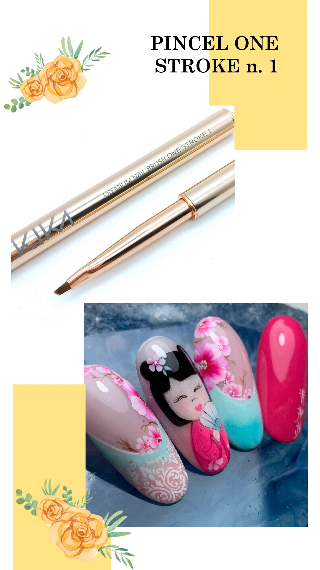 "Pincel ONE STROKE 1 ""Kika Gomes"" Nail Art Pro"