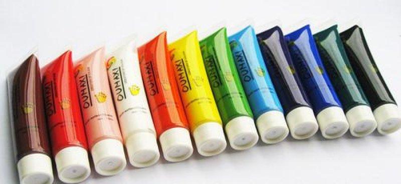 Conjunto de 12 cores de tinta acrílica