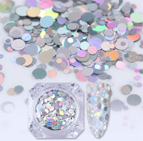 Círculos Prata Holográfico - Mix Tamanhos