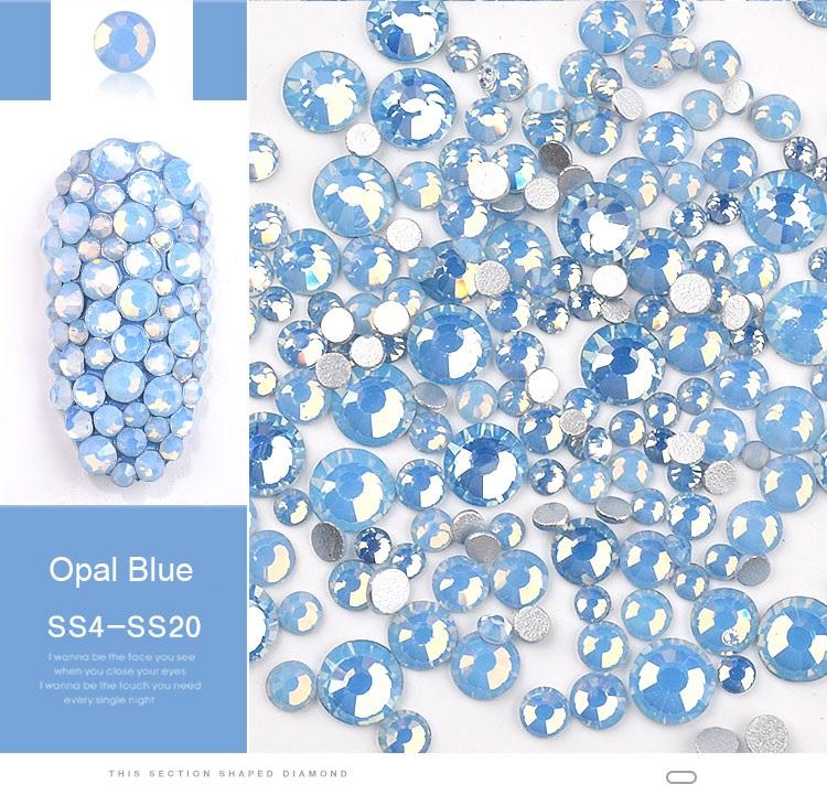 Cristais Azul Opal - Mix tamanhos