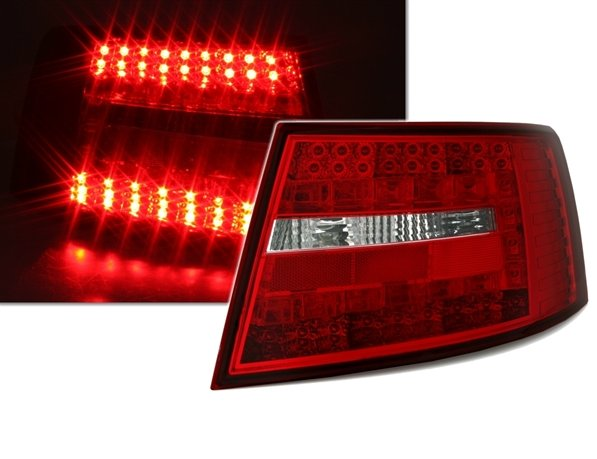 Audi A6 2004-2008 Farolins Cristal LED Vermelho