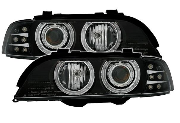 BMW E39 Farois Angel Eyes Preto Pisca em LED