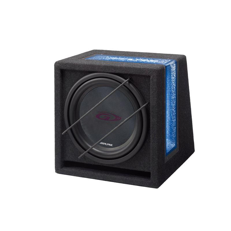 """Alpine SBG-1044BR Caixa bass reflex com sub 10"""". Max 500W, com neon azul"""
