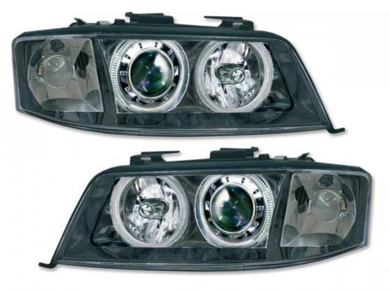 Audi A6 farois angel eyes 1990-2000 preto