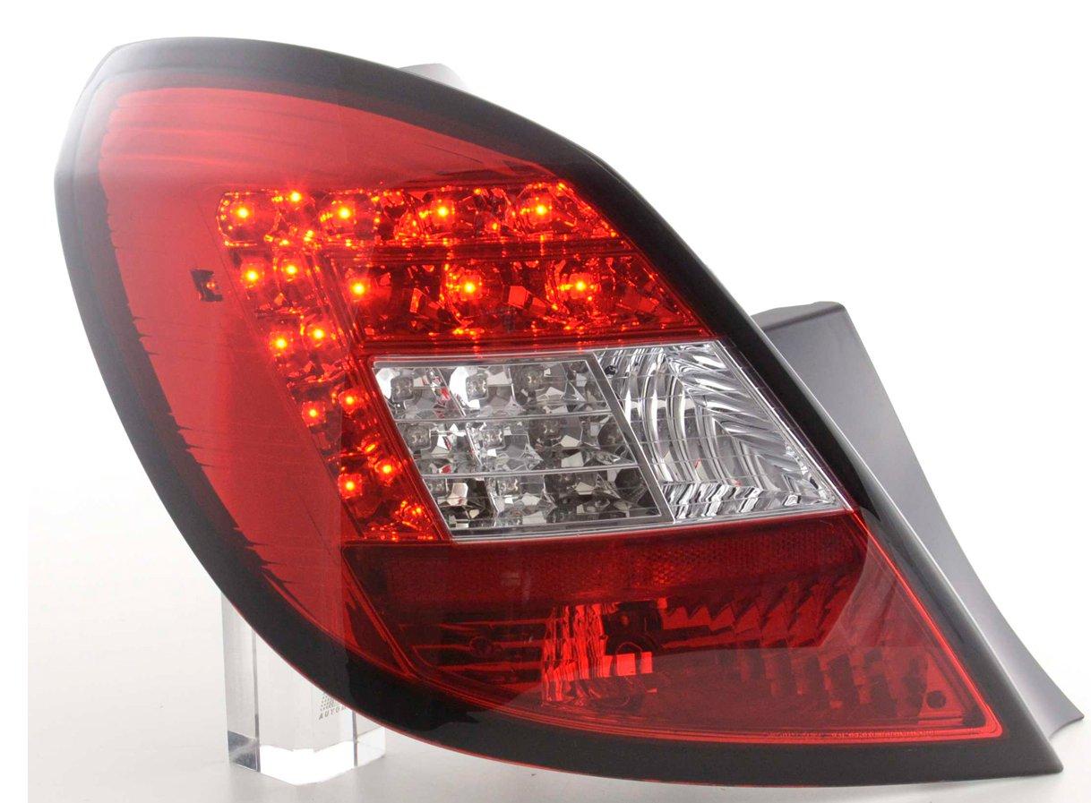 Opel Corsa D 2006-2010 5 portas Farolins LED vermelho/cristal com pisca led