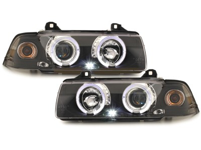 BMW E36 4 portas Farois Angel Eyes preto