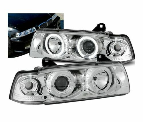 BMW E36 4 portas Farois Angel Eyes cromado