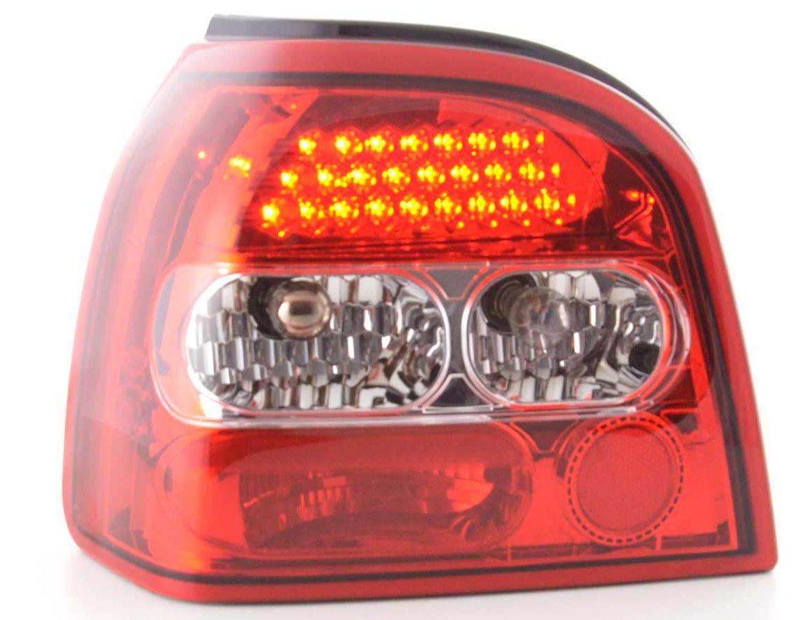 VW Golf 3 Farolins cristal vermelho LED