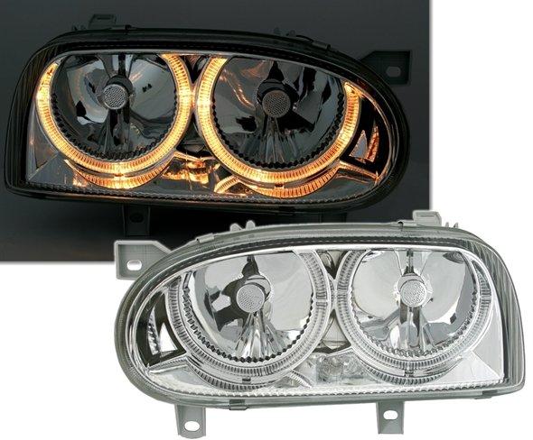 VW Golf III farois angel eyes cromado