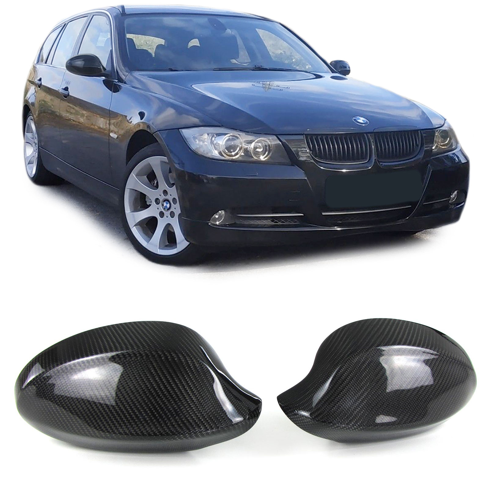 Capas Espelhos Carbono BMW E90 / E91 2005 a 2008