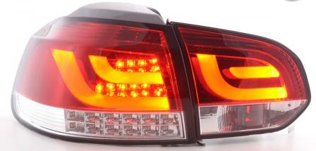 VW Golf 6 Farolins LED bar vermelho cristal pisca led