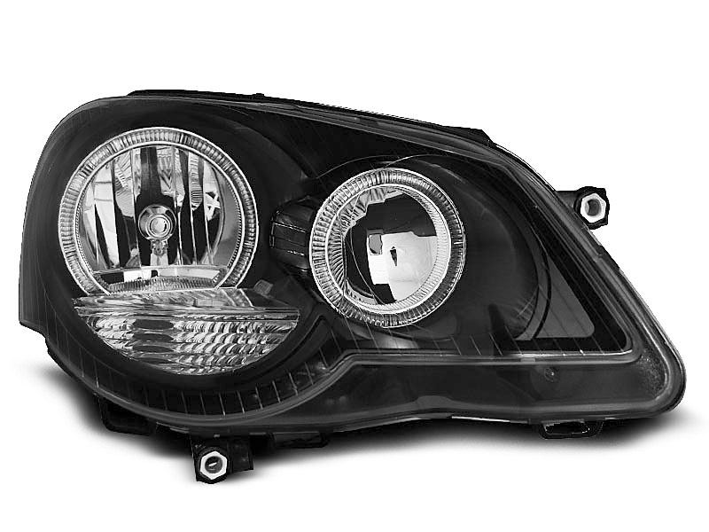 VW POLO 9N3 04.05-09  Farois Angel Eyes Preto