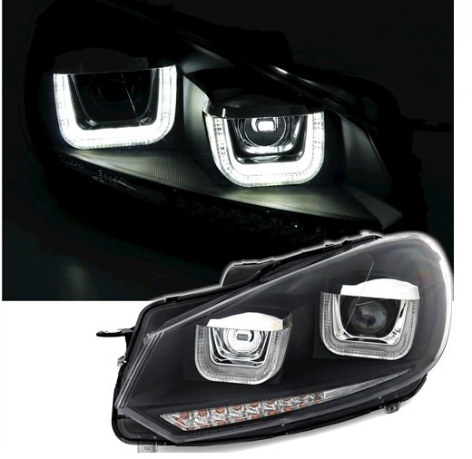 VW Golf 6 Farois U Angel Eyes Preto TFL pisca dinamico