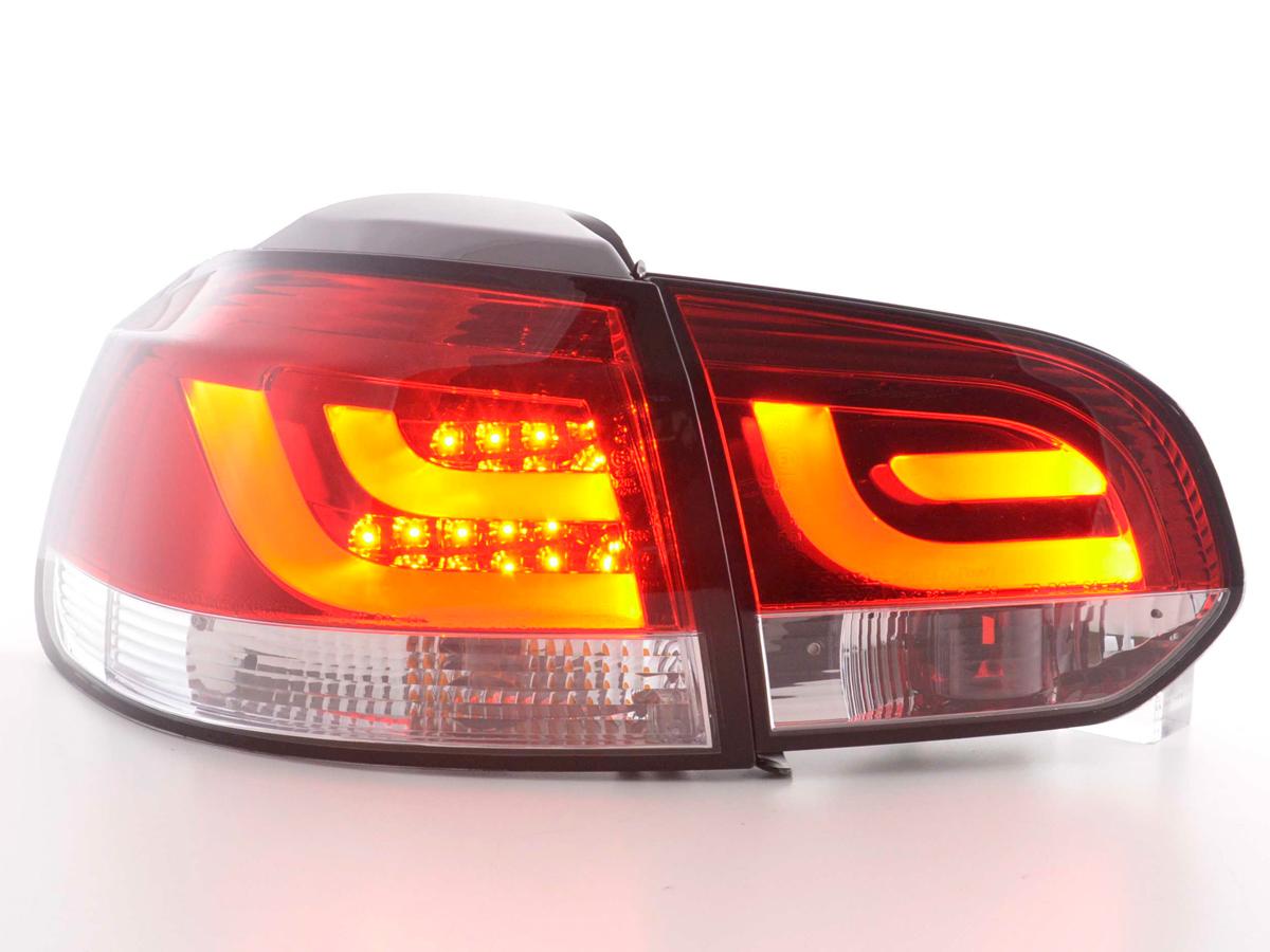 VW Golf 6 Farolins LED bar vermelho cristal