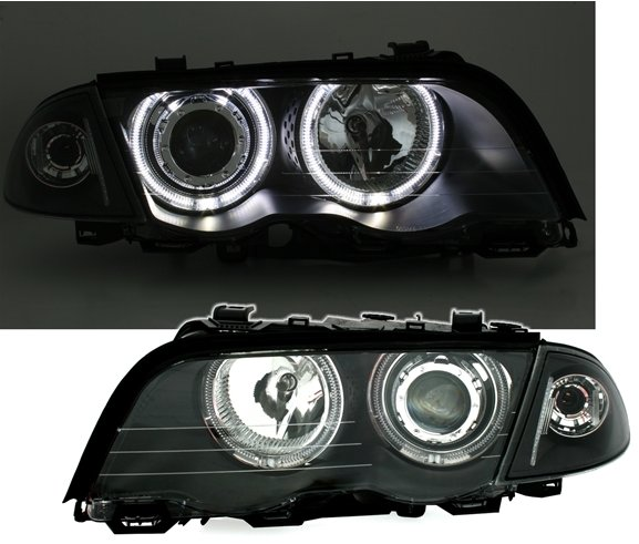 BMW E46 4 Portas 98-2001 Farois Angel Eyes LED Branco com pisca