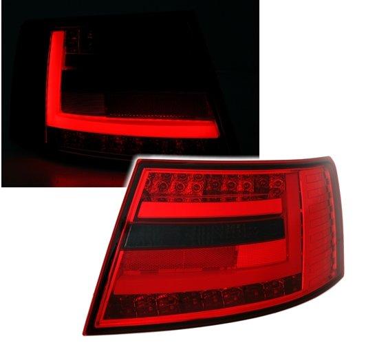 Audi A6 2004-2008 Farolins Cristal LED BAR Vermelho -Fumado