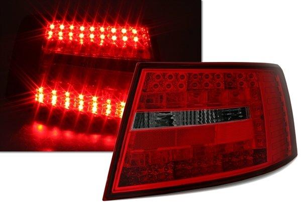 Audi A6 2004-2008 Farolins Cristal LED Vermelho-Fumado