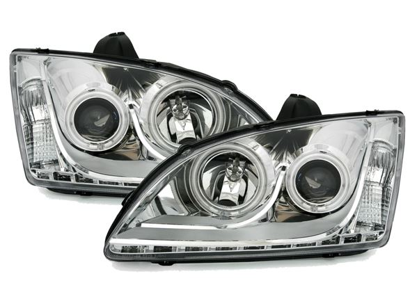 Ford Focus 2º mod. 04-08 Farois Angel Eyes Com LED Cromado
