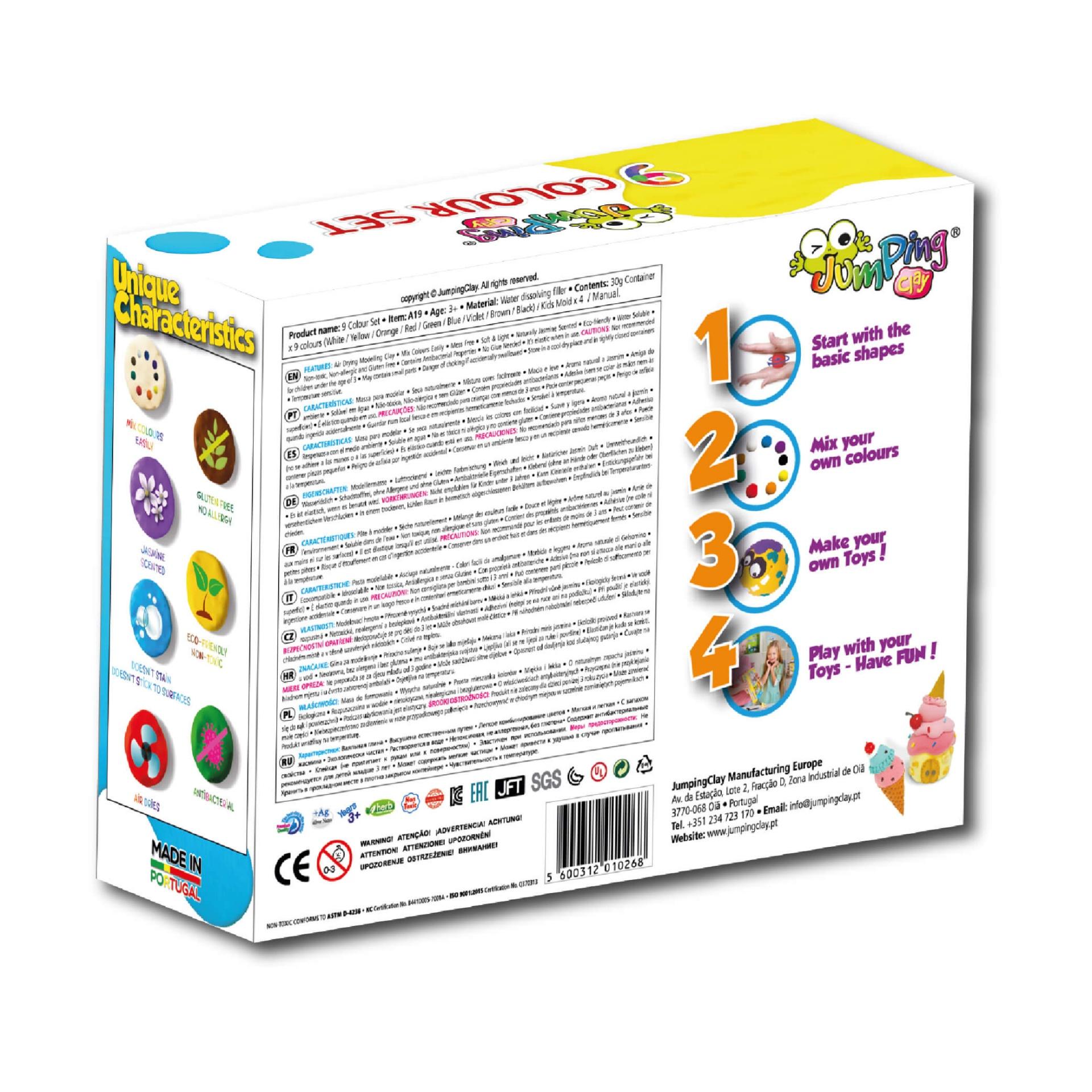 PACK DE 9 CORES - Potes com plasticina JumpingClay