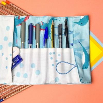 Blue Hummingbird - Big Pencil Case