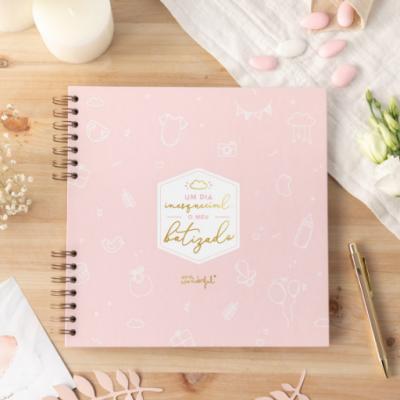 Álbum de fotos batizado (rosa)