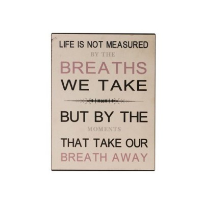 "Placa Parede ""Life is not measured"""