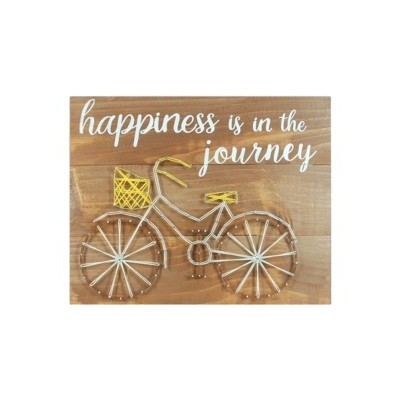 "Placa Parede ""Happiness is the journey"""