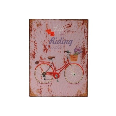 """Placa Parede """"Life like riding a bicycle"""""""